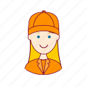 .svg, blonde woman professions, emprego, gari, job, mulher, professions, street-sweeper, trabalho, work icon