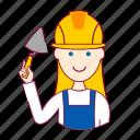 assistente de obra, blonde woman professions, emprego, job, mason, mulher, pedreira, professions, trabalho, work icon