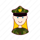 blonde woman professions, emprego, exército, job, militar, military, mulher, professions, trabalho, work icon