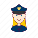 blonde woman professions, emprego, job, mulher, police officer, policial, professions, trabalho, work icon