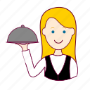 .svg, blonde woman professions, emprego, garçonete, job, mulher, professions, trabalho, waitress, work icon