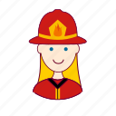 blonde woman professions, bombeira, emprego, fire, firefighter, fogo, job, mulher, professions, trabalho, work icon