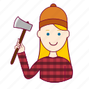 .svg, blonde woman professions, emprego, job, lenhadora, mulher, professions, trabalho, woodcutter, work icon