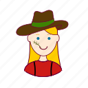 agricultora, blonde woman professions, emprego, farmer, fazenda, horta, job, mulher, plantadora, professions, trabalho, work icon