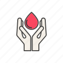 blood, donation, drop, hand, line, thin icon