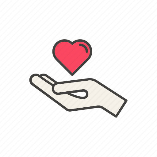 blood, donation, hand, heart, help, line, thin icon