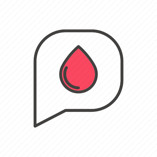 blood, bubble, donation, drop, line, speech, thin icon
