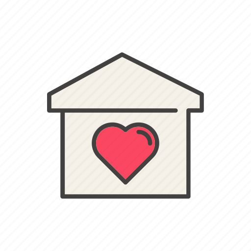 blood, donation, heart, house, line, love, thin icon