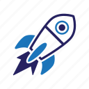 product launch, rocket, spaceship, startup icon