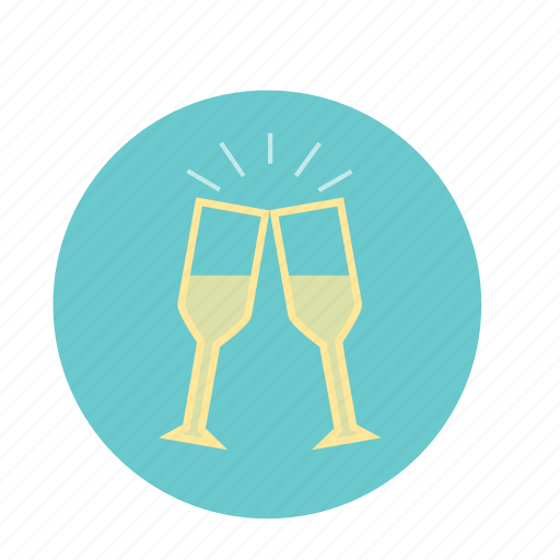 blue, celebrate, champagne, clink, glasses, wedding, yellow icon
