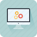 app development, cogwheel, communication, monitor, settings, technology icon