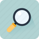 business, glass, magnifying glass, marketing, search, statistics icon