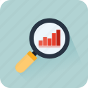 bars, business, graphics, growing, magnifying glass, search, statistics icon