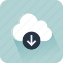 cloud, computer, data, download, file, interface, storage icon