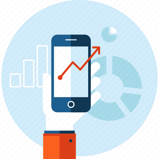 analysis, business, chart, flat design, mobile, online, success icon