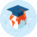 course, distance, e-learning, education, flat design, online, training icon