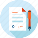 business, contract, document, flat design, paper, signature icon