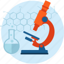 chemistry, development, flat design, laboratory, medicine, research, science icon