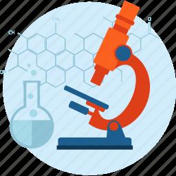 chemistry, development, flat design, laboratory, medicine, research, science icon