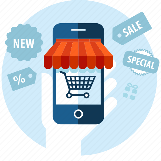 app, flat design, m-commerce, mobile, sale, service, shopping icon