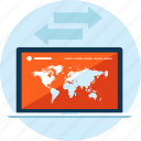 conection, flat design, internet, map, network, seo, website icon