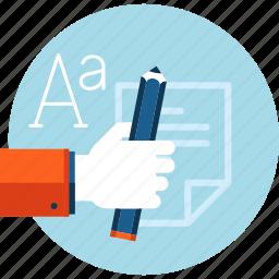 blog, copywriting, design, flat design, graphic, stationary, text icon
