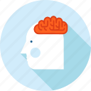 brain, education, experience, flat design, knowledge, people, skill icon