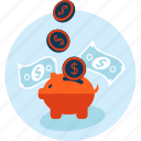 banking, flet design, money, piggy bank, savings icon