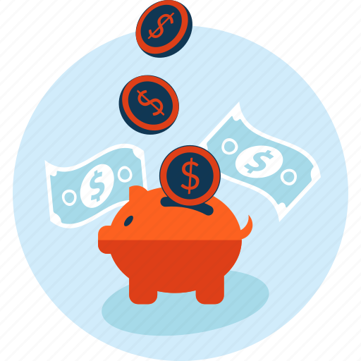 banking, flet design, money, piggy bank, savings icon