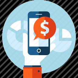 analysis, app, banking, business, finance, flat design, mobile icon