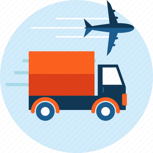 airplane, delivery, flat design, logistics, transportation, truck icon