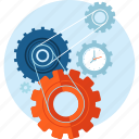 flat design, gears, process, seo, service, technology, workflow icon