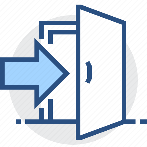 access, admission, door, entry, login, open, sign icon