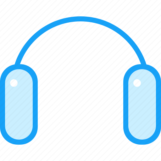 blue, headphones, moon, stereo icon