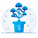 dollar, finance, growth, money, plant icon