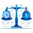 equality, money, time, time is money icon