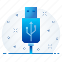 cable, data cable, flash drive, storage, usb icon