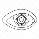 eye, eyelash, human, iris, line, outline, vision icon