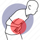 pain, stomach, stomachache, abdomen, abdominal, torso, cramp icon