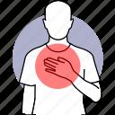 pain, chest, discomfort, tightness, stress, heart, body icon