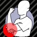 pain, elbow, joint, bone, hand, problem, ache icon