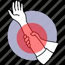 pain, hand, muscle, sore, soreness, injury, sprain icon