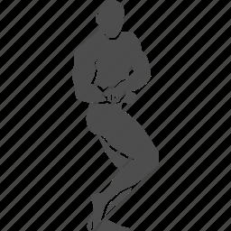 bodybuilder, bodybuilding, fitness, gym, pose, side, sport icon