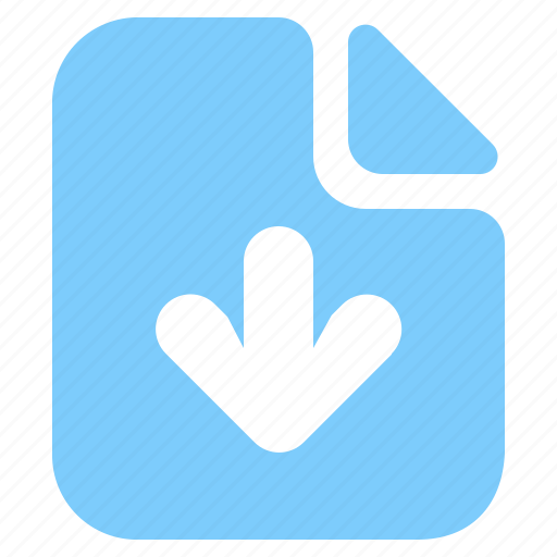 arrow, data, document, down, download, file, page icon