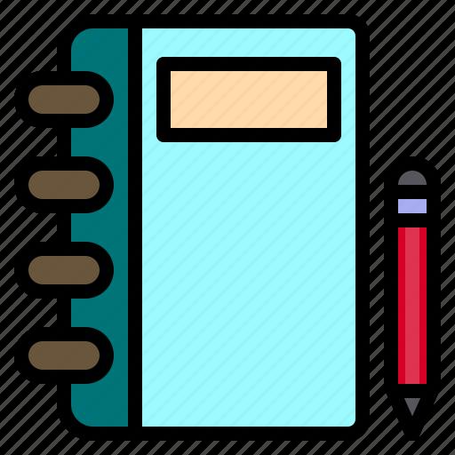 agenda, book, notebook, pen, pencil icon