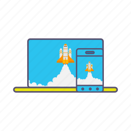 boost, device, laptop, launcher, marketing, mobile, rocket icon