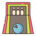 alley, ball, bowling, pins