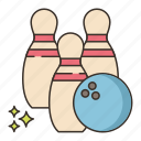 ball, bowling, pins, three