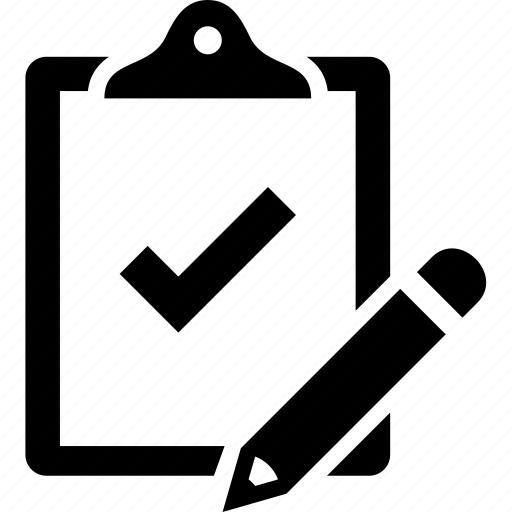 checkmark, clipboard, pencil, qa, quality assurance, quality control, task icon