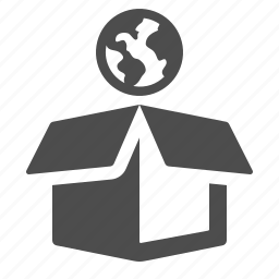 box, crate, delivery, earth, global, globe, package icon